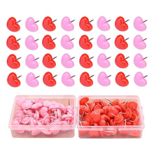 Office-Stationery And Plastic Pink 1-Pack 50pcs Pushpin Heart-Shaped High-Quality-Materials