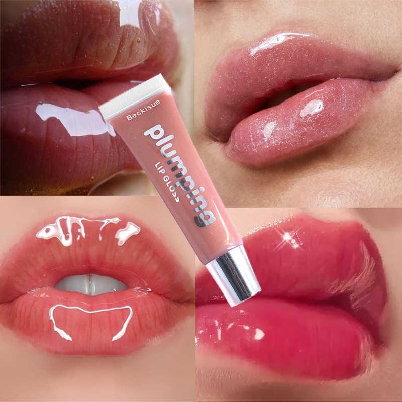 Moisturizing Gloss Plumping Lip Gloss Lip Plumperแต่งหน้าGlitter Nutritious LiquidลิปสติกCherry Mineral Oil Clear Lip Gloss