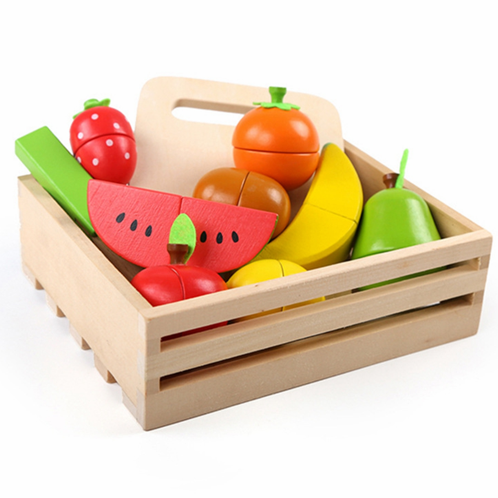 New 1 Pcs Sets Pretend Toy Wooden Kitchen Toys Cutting Fruit Vegetable Play Miniature Food Kids Wooden Baby Early Education Toy image