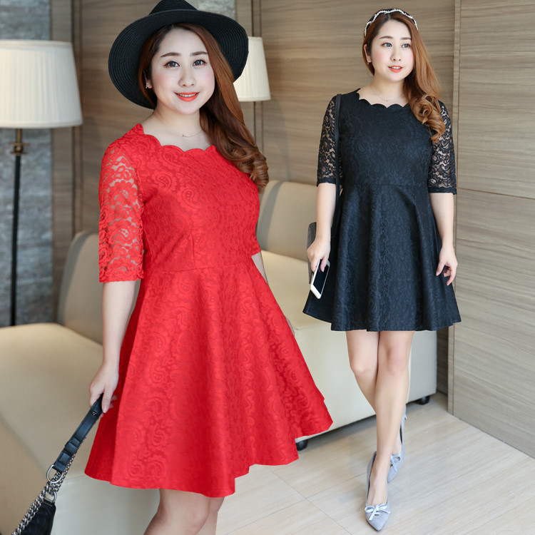2019 Early Autumn Clothing Fat Mm Large Size Dress Plus-sized Lace Bride Toast Dress Full Body Dress 1185