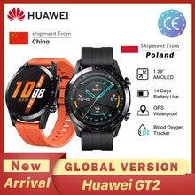 Huawei GT2 GT2E inteligentny zegarek globalna wersja 46mm SmartWatch GPS wodoodporny Bluetooth dla androida iOS tętno ساعة ذكية