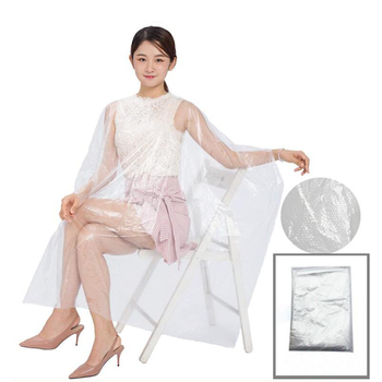 1 PCS 130*150 Disposable PE Waterproof Apron Cut Perm Dye Hair Cape Gown Antistatic Barber / HomeWrap Hairdressing Cloth image