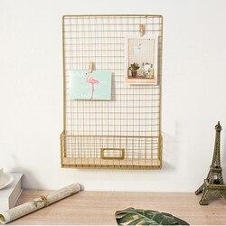 Wyświetlanie zdjęć biuro tablica pamiątkowa DIY wielofunkcyjna wisząca żelazna siatka salon półka do przechowywania w domu sypialnia dekoracje ścienne siatka