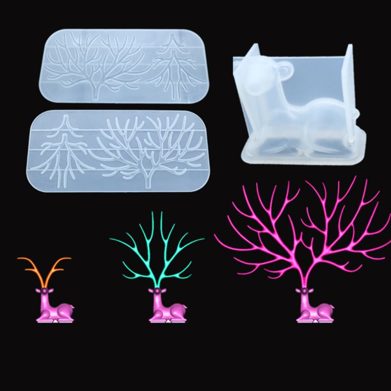 DIY Crystal Epoxy Molds Deer Tree Branch Shape Silicone Mould Handmade Table Decorations Silicone Mold For UV Jewelry Making