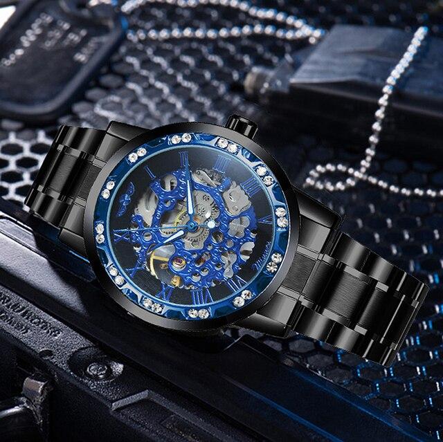 الفائز الهيكل العظمي الميكانيكية الرجال الذهبي ساعة فضية العلامة التجارية الفاخرة مثلج خارج كريستال موضة الشرير الصلب ساعة اليد دروبشيبينغ 5