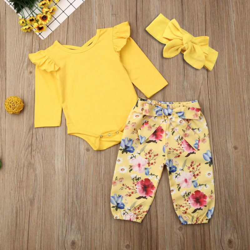 3PCS Nweborn Kids Baby Girl Clothes Long Sleeve Tops Romper Floral Pants Outfits