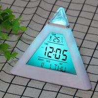 Digital Alarm Clock Thermometer Backlight Change Clock Perpetual Calendar Colorful Cone Pyramid Style Home Decoration Random|Alarm Clocks| |  -