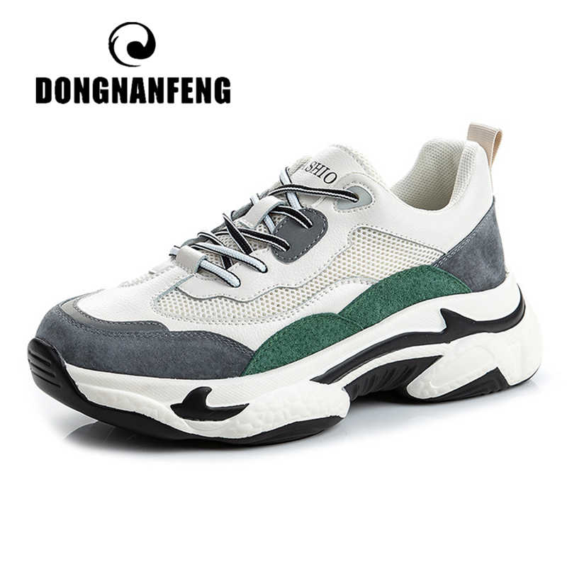 DONGNANFENG Women's Female Woman Shoes Sneakers Platform Lace Up Genuine Leather Runing Mesh Sports Vulcanized Shoes ML-19123