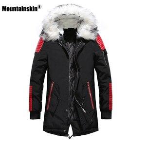 Image 3 - Зимнее Мужское пальто с меховым капюшоном, длинная хлопковая куртка, мужские повседневные парки, модные толстые теплые пальто, Мужская брендовая одежда SA611
