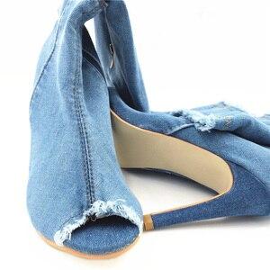 Image 3 - Seksi çizmeler kadın uyluk yüksek çizmeler diz üzerinde yüksek şişeler Peep Toe pompaları delik mavi topuklu fermuar Denim kot ayakkabı Botas Mujer