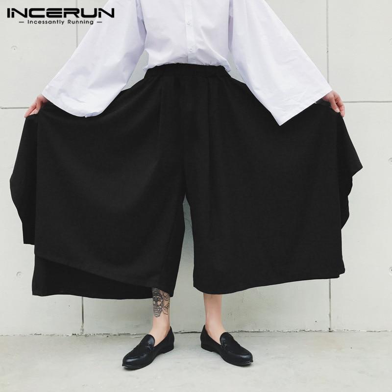 Men Pure Color Wide Leg Harem Pant Fashion Punk Style Casual Trouser Baggy Dance Wear Irregular Mens Street Sweatpants INCERUN 7
