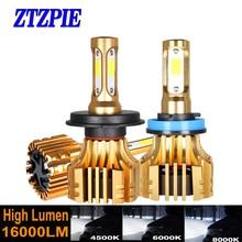ZTZPIE COB שבב 6000K 4500K 8000K 16000LM 9005 hb3 H1 H9 H8 H4 H7 12V עבור רכב Led פנס H11 9006 hb4 Led נורות ערפל אורות
