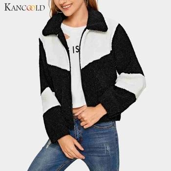 KANCOOLD coats Fashion Womens Casual Cashmere Long Sleeve Patchwork Cardigan Jacket Short Tops Zippe