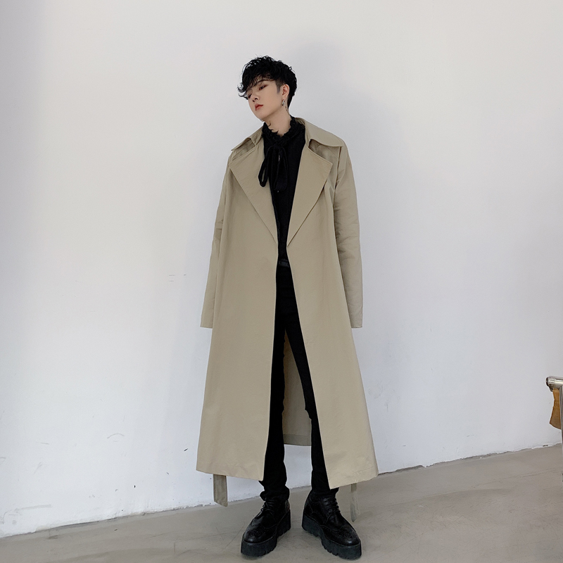 Men Vintage Casual Loose Trench Coat Overcoat Male Women Japan Street Cardigan Long Jacket Outerwear Windbreaker