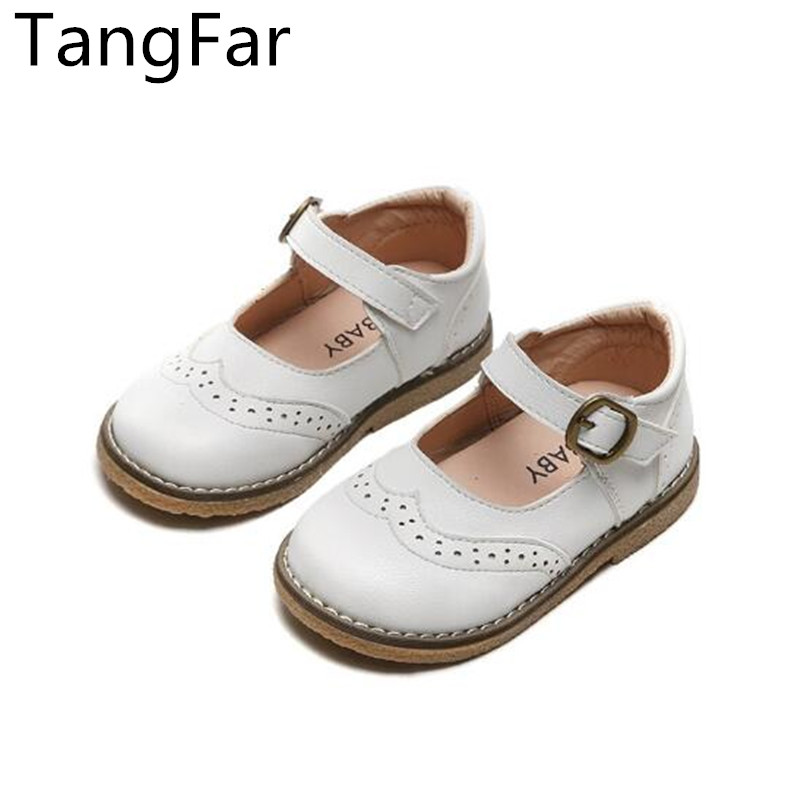 Children Leather Performance Sandals White Solid Color Kids Mary Jane Shoe Buckle Girls Belt Loafers