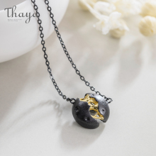 Thaya Lonely Planet Design Necklace Black  S925 Silver Pendant for Women Holiday Gift