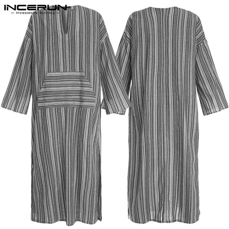 INCERUN Fashion Muslim Kaftan Costume Men Chic Stripe Long Sleeve Robe Casual V Neck Retro Jubba Thobe Cotton Mens Long Tops