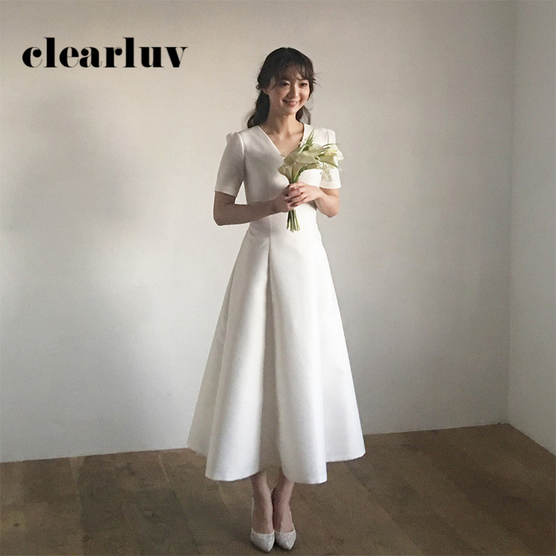 Solid Wedding Dresses DR297 V-Neck Vestidos De Noiva Short Sleeve Formal Wedding Gowns White A-Line Long Elegant Dress For Women