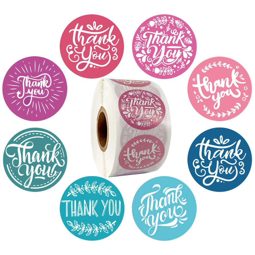 8 Designs Olive Thank You Stickers Seal Labels 500pcs Blue And Red Label Sticker Scrapbooking For Thank Gift Stationery Sticker