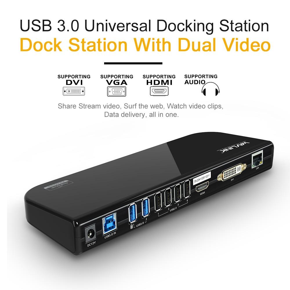 USB 3.0 STATION d'accueil universelle double écran de moniteur vidéo HDMI & DVI/VGA GIGABIT ETHERNET AUDIO 6 PORTS USB pour tablette d'ordinateur portable - 3