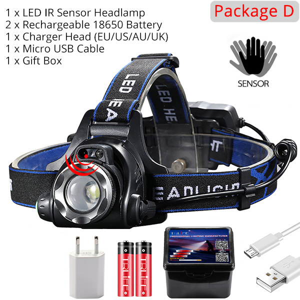 IR Sensor Headlight USB Rechargeable V6/L2/T6 Induction LED Headlamp Fishing Head Light Lamp Lantern By 18650 Battery 5
