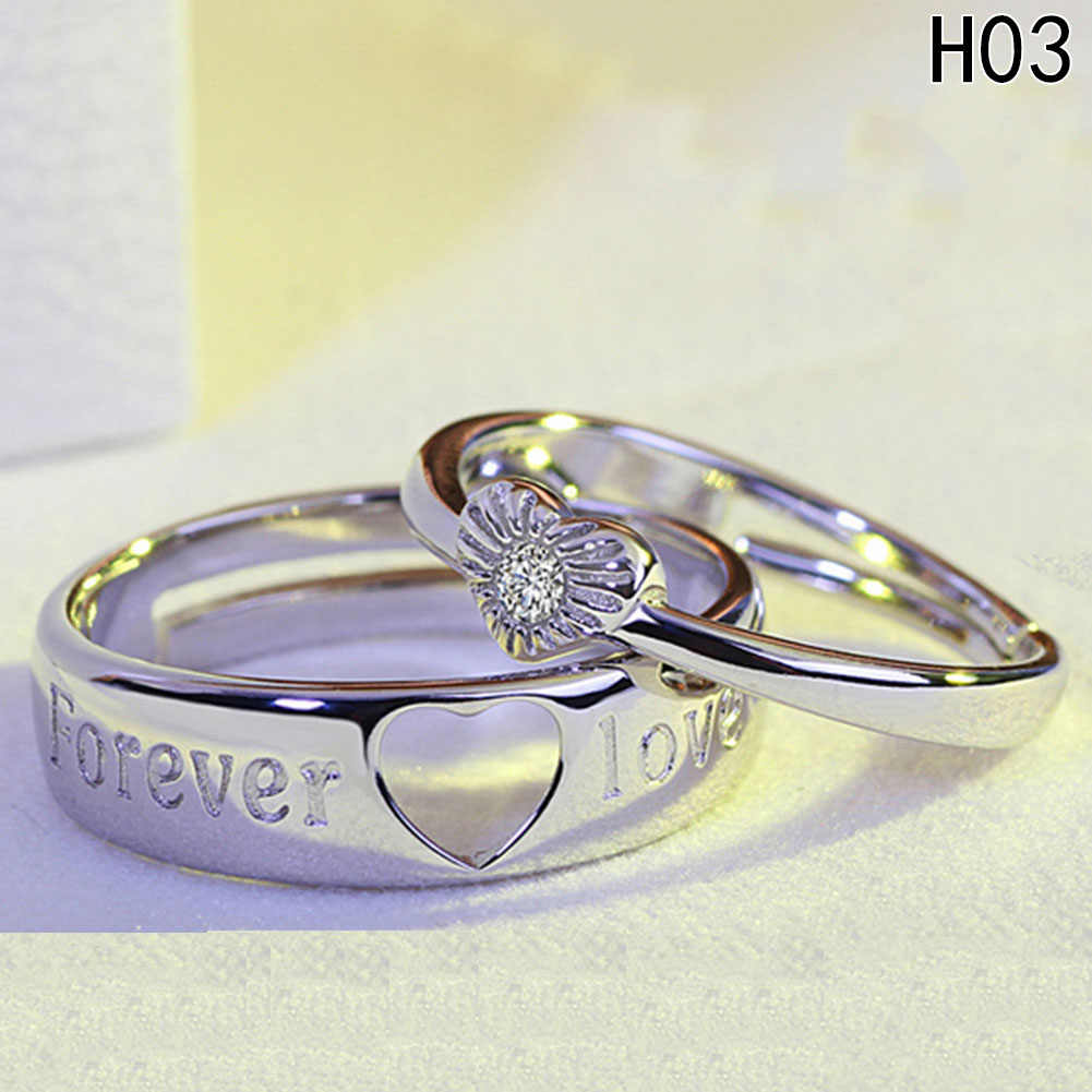 Fijne Resizeable lovers 'Ring Trouwring Paar Paar Set Ring Voor Mannen Vrouwen Lover Wedding Party Classic Sieraden