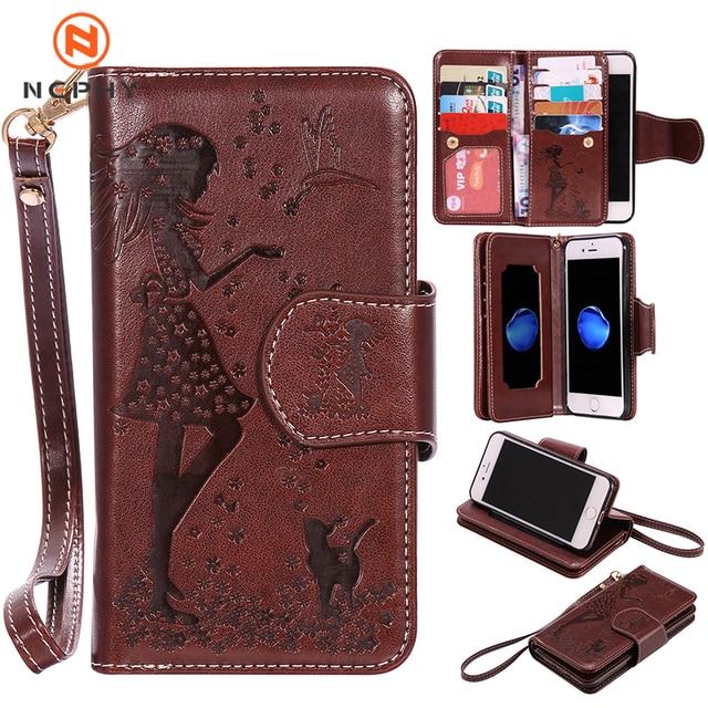 Luxury Leather Wallet Flip Phone Case for iphone 6 s 6s 7 8 Plus 6Plus 7Plus 8Plus X XS 5 5s SE 2020 Cover Makeup Mirror Casing