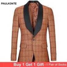 PAULKONTE Men Mostly Male Dress Jacket Slim Fit Blazer Luxury Brand Designer Plaid Suit Homens Classic Mens