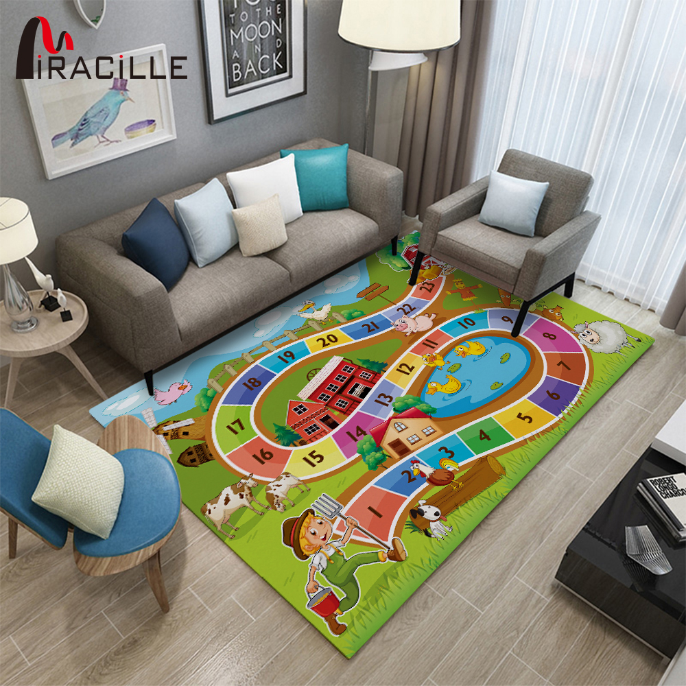 Miracille Children Game Carpet For Livingroom Large Size Cartoon Kid Play Mat Anti Slip Printing Rug Bedroom Decor