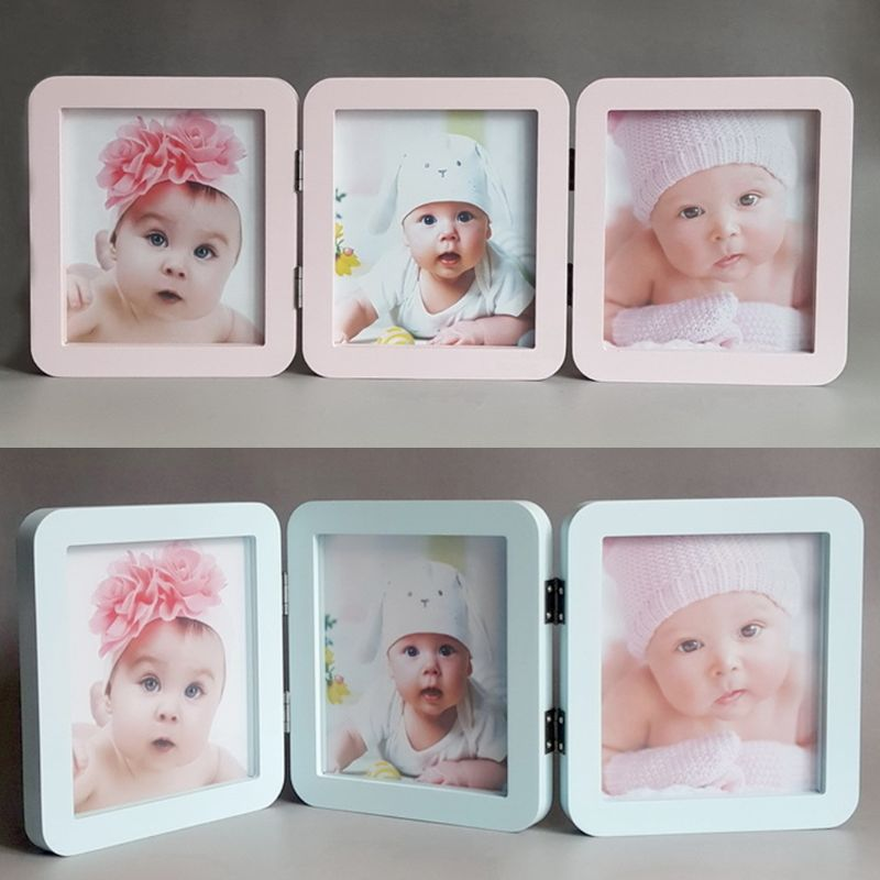 Baby Photo Frame Album 3 Folds Newborn Hand and Foot Prints Photos Frames Infants Birth Growth Commemorative Bath Gifts in Hand Footprint Makers from Mother Kids