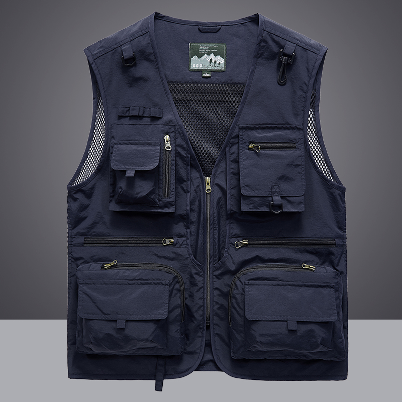 Waistcoat Vest Jacket Men Multi Pocket Classic Male Sleeveless Coat Outdoor Photographer Fishing Jackets 5XL Vest Travel Clothes