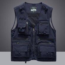 Waistcoat Vest Jacket Men Multi-Pocket Classic Male Sleeveless Coat Outdoor Photographer Fishing Jackets 5XL Vest Travel Clothes