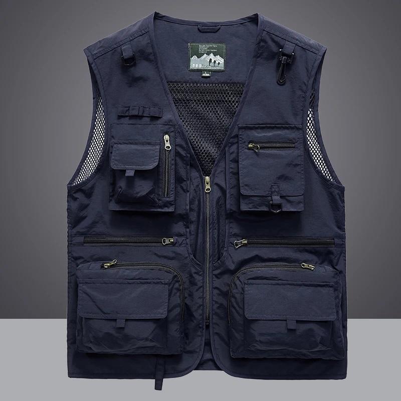 Waistcoat Vest Jacket Photography Multi Pocket Plus Fishing Outdoor Men Travel