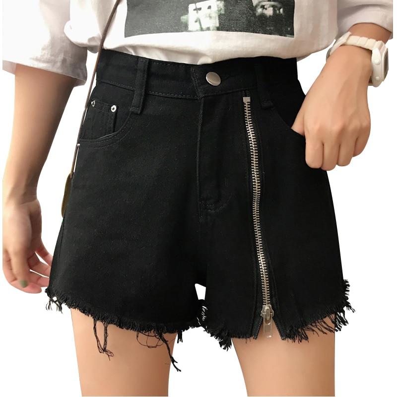 Vintage Jeans Shorts Women High Waist Denim Shorts Zipper Black Ripped Short Trouser Lady Clothing Summer Beach Sexy Shorts Girl