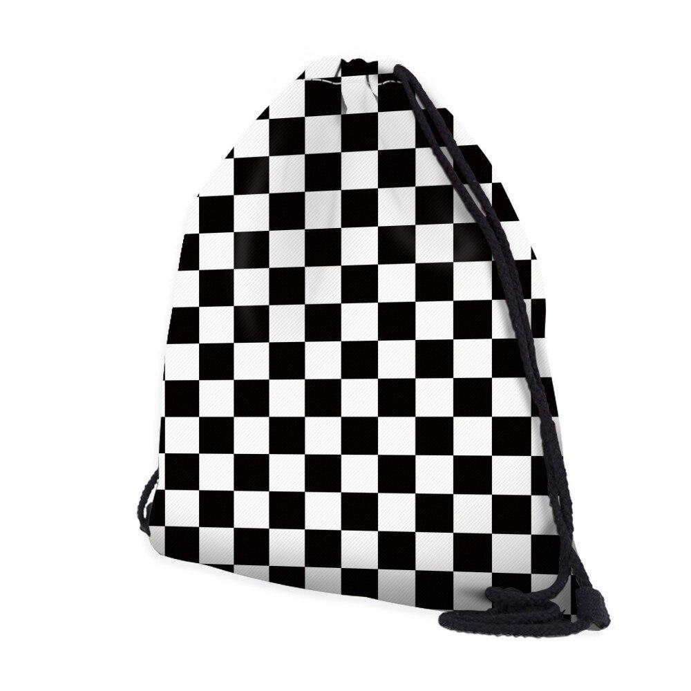 H8d63351ead344f8086e5e5df54bc7a13I Deanfun Women 3D Printing Drawstring Bag Black White Geometric Backpack Travel Softback Mens Backpacks 28316