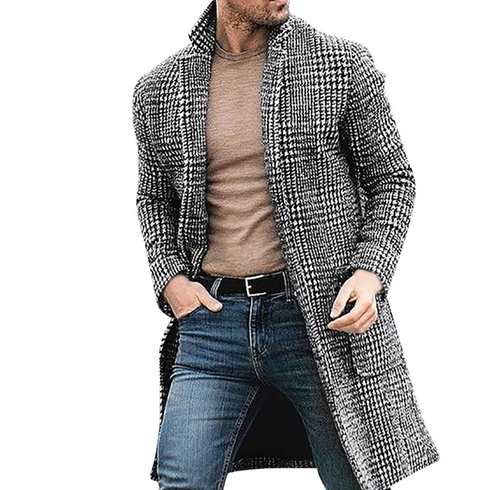 Korean Men's Casual Winter Fashion Warm Long-sleeved Houndstooth Gentleman Pockets Cotton Long Coat Jacket Куртка мужская