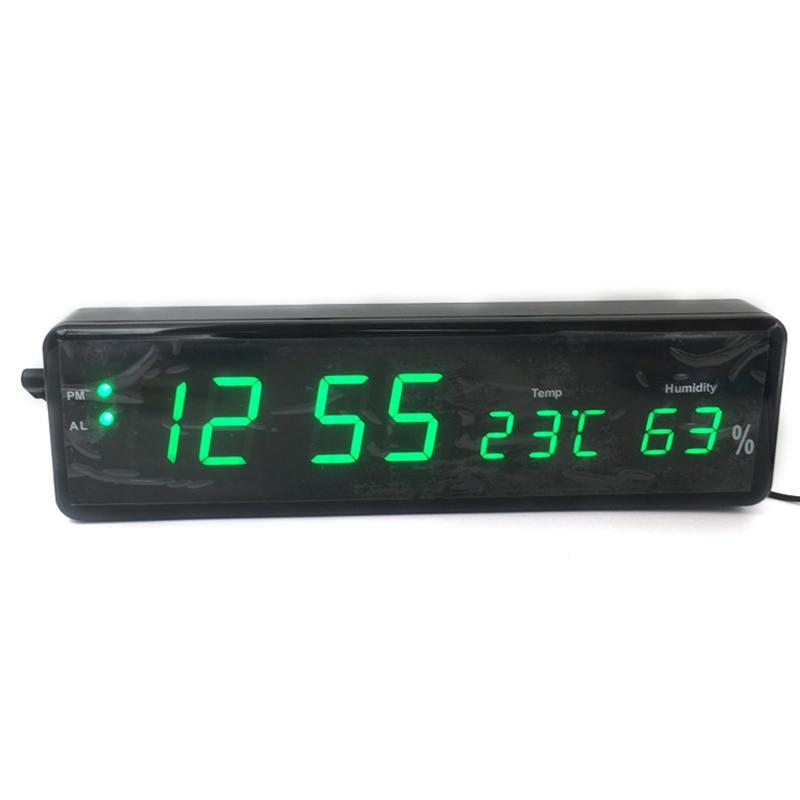 Практичные цифровые часы цифровой светодиодный аккумулятор настенные часы цифровые настенные часы с термометром измеритель влажности многофункциональные часы|Будильники|   | АлиЭкспресс