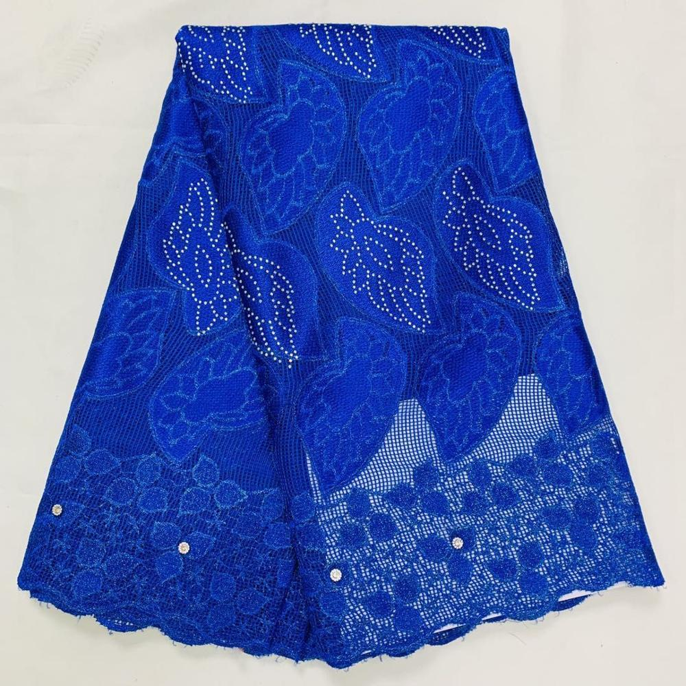 Blue African Cotton Net Lace Fabric For Wedding Dress 2020 High Quality Cotton African Lace Fabrics 5 Yards Nigerian Ankara
