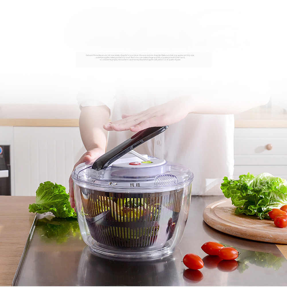 1 Vegetable Washer with Bowl Salad Spinner Large Clear Mixer Bowl Fruit and Veggie Wash Container