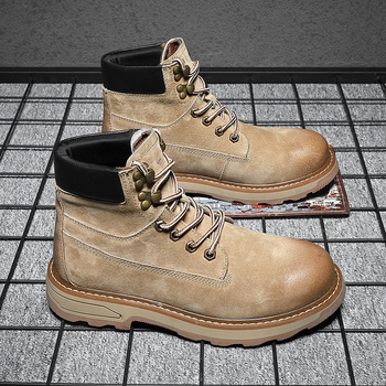 British style mens casual desert boots spring autumn genuine leather tooling shoes outdoors platform ankle boot botas masculinas