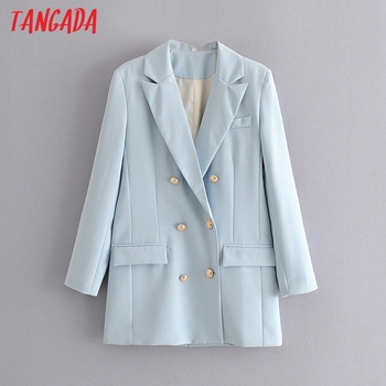 Tangada 여성 블루 블레이저 코트 빈티지 노치 칼라 긴 소매 2020 패션 여성 느슨한 세련된상의 DA93