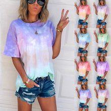 2020 feminino verão tie-dye manga curta tripulação-pescoço camiseta casual camisetas (S-5XL) mujer