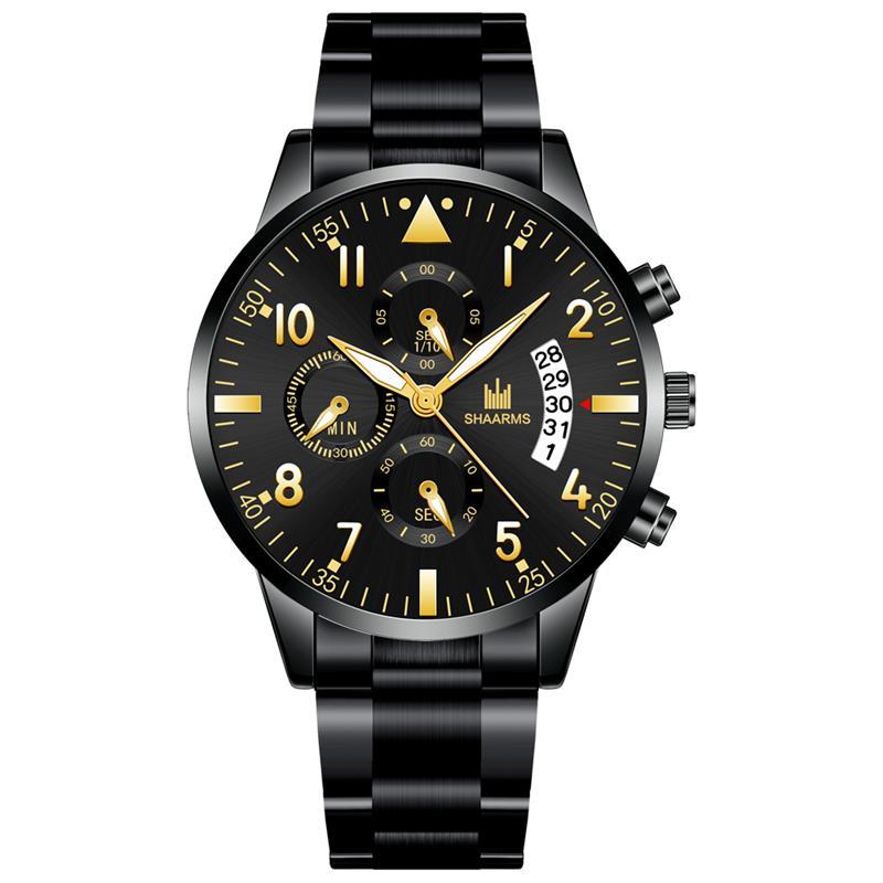 Black Luxury Business Men Watch Fashion Stainless Steel Band Quartz Wristwatch Man Military Sport Watches Date Clock 2019