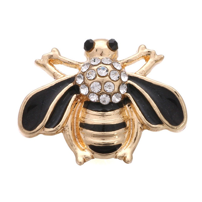 10pcs/lot Hardworking Cute Bee Metal Snap Buttons With Rhinestone Gold Color Fit 12mm DIY Snap Bracelets&Bangles Jewelry ZL062 image