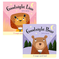 2Pcs/Set Goodnight Bear and Lion Magic Torch Books English Educational Picture Books Children Reading Book