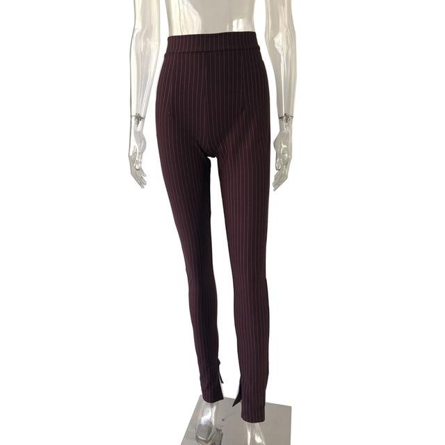KGFIGU Office pants For women 2020 High waist striped trousers women Side split OL style Skinny long Bottom Have stretchy White 38