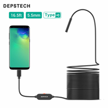 DEPSTECH Type C USB Endoscope 5.5mm Ultra-Thin Inspection 720P Mini Camera Hard Cable Waterproof Snake Tube Borescope Android
