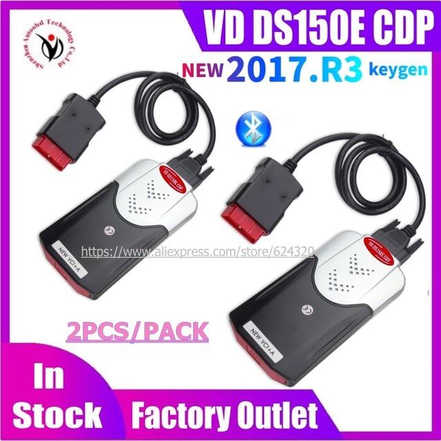 2PCS/Lot 2021 Latest NEW VCI diagnostic tool Bluetooth 2017.R3 keygen VD DS150E CDP for delphis obd2 car&truck Scanner fast ship