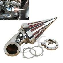 цена на Chrome Motorcycle Spike Air Cleaner Intake Filter For Harley Honda Shadow ACE 1100 ACE 750 Spirit 1100