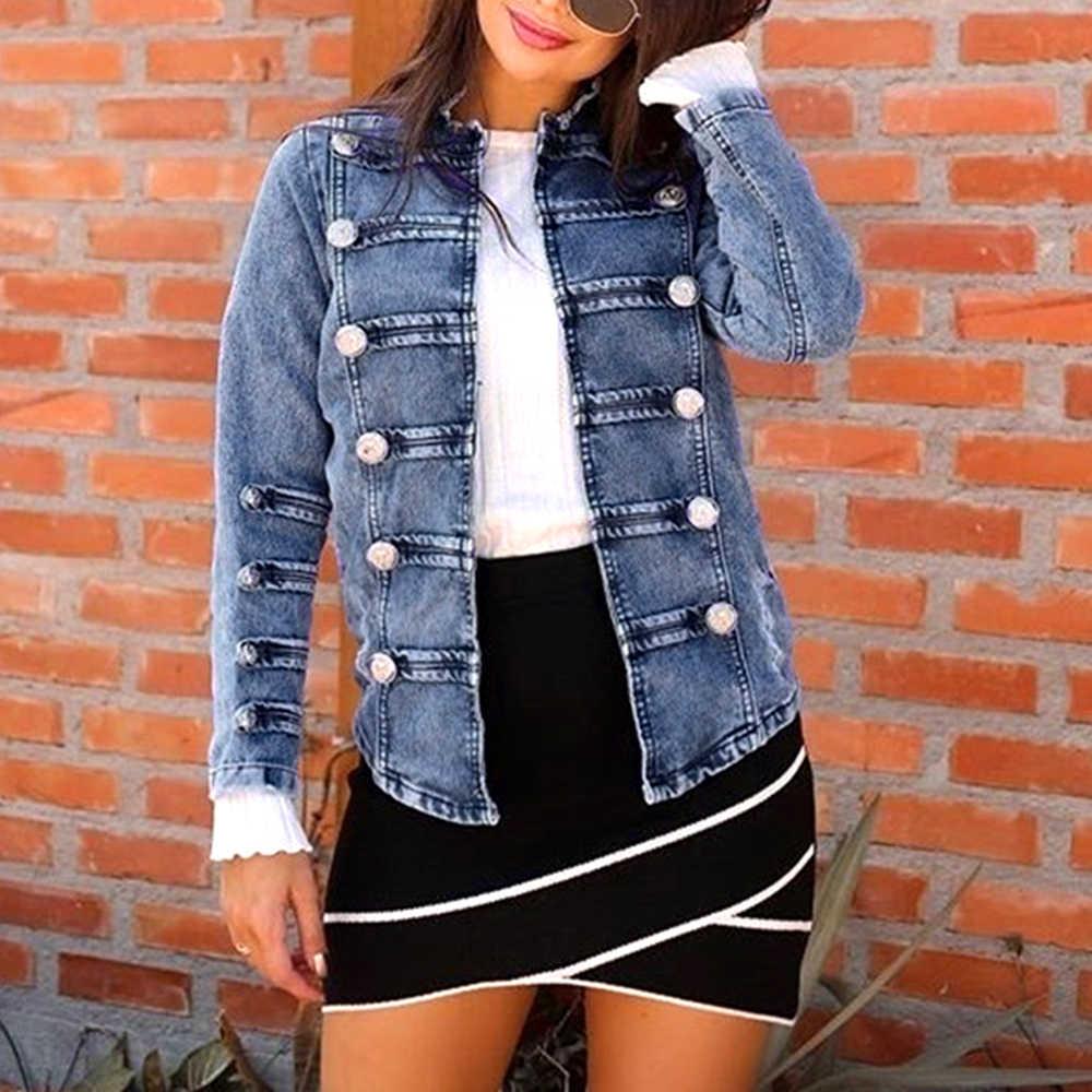2019 Осенняя Женская двубортная стимпанк Готическая панк джинсовая куртка пальто светло-Синяя женская верхняя куртка джинсы